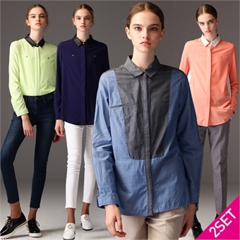 2SET [르오트(LeOT)] 믹스앤매치 컬러블록 엣지셔츠 2종세트