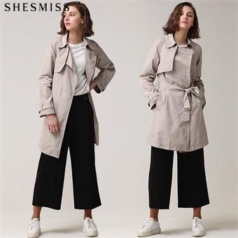 [쉬즈미스(SHESMISS)] 심플베이직 세미A라인 벨티드 트렌치 코트