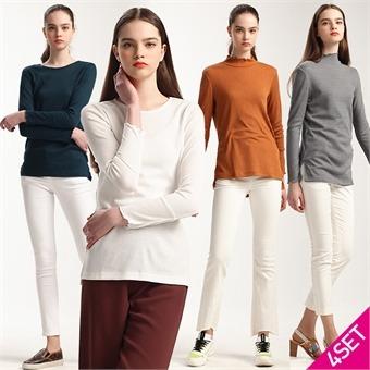 4SET [르오트(LeOT)] 캐서린 뉴욕 니팅 티셔츠 4종세트