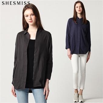 [쉬즈미스(SHESMISS)] 시크한 린넨블렌디드 셔츠형 집업자켓