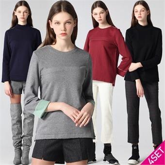4SET [홈쇼핑방송/르오트] 엣지컷 소프트 기모 티셔츠 4종세트