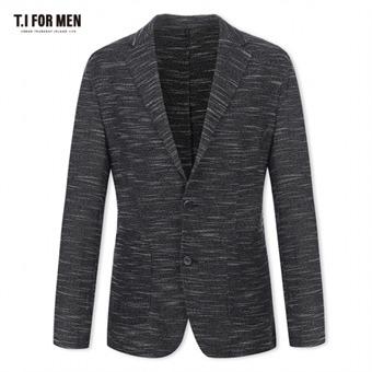 [TI FOR MEN] 티아이포맨 폴리혼방 패턴 투버튼 자켓 M174MJK722M1BK5