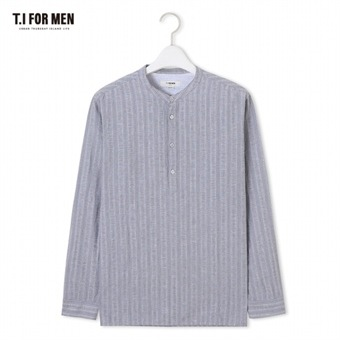 [TI FOR MEN] 티아이포맨 차이나넥 스트라이프 긴팔셔츠 M174MSH470M1GY5
