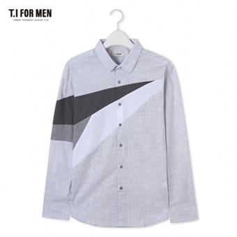 [TI FOR MEN] 티아이포맨 배색 패턴 긴팔셔츠 M172MSH416M1GY5