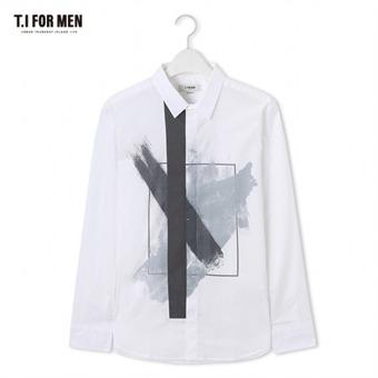 [TI FOR MEN] 티아이포맨 프린트 긴팔셔츠 M172MSH417M1WH5