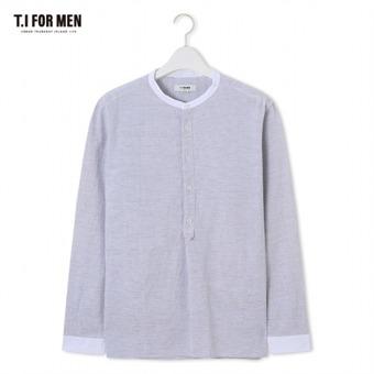 [TI FOR MEN] 티아이포맨 차이나넥 패턴 긴팔셔츠 M174MSH488M1GY2