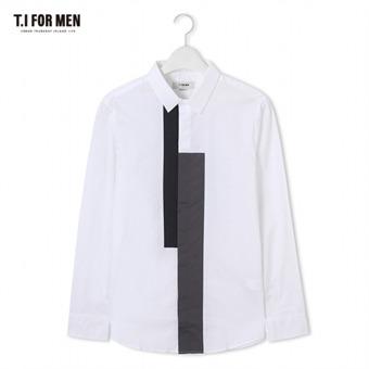 [TI FOR MEN] 티아이포맨 배색 긴팔셔츠 M172MSH414M1WH5