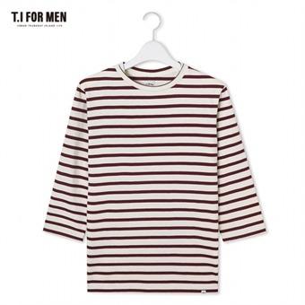 [TI FOR MEN] 티아이포맨 스트라이프 7부 티셔츠 M172MTS918M1WI5