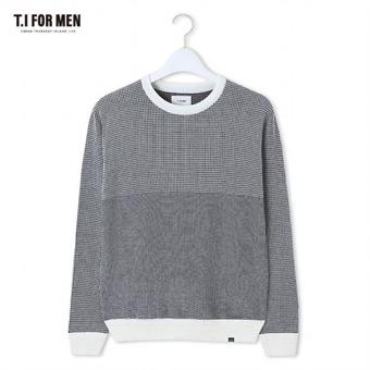 [TI FOR MEN] 티아이포맨 패턴 배색 스웨터 M162MSW802M1IV5