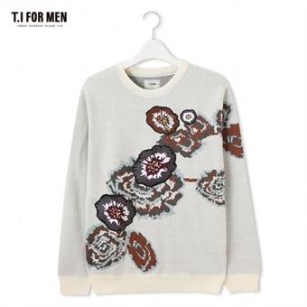 [TI FOR MEN] 티아이포맨 플라워 자수 스웨터 M176MSW411M1IV5