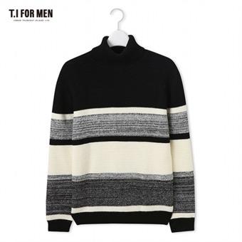 [TI FOR MEN] 티아이포맨 배색 스웨터 M178MSW461M1BK5