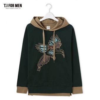 [TI FOR MEN] 티아이포맨 자수 후드 티셔츠 M176MTS424M1GN2