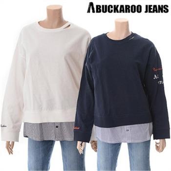 [버커루] 여성용 거즈 레이어드 넥트임 맨투맨 티셔츠(B171TS530P)