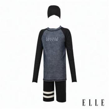 [엘르 수영복]아동 래쉬가드+반바지+수모 세트 ETPVU73BLK