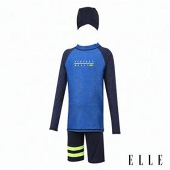 [엘르 수영복]아동 래쉬가드+반바지+수모 세트 ETPVU73NVY