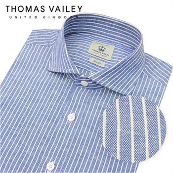 [THOMAS VAILEY] 토마스 베일리 린넨 스트라이프 와이드카라 셔츠 블루 1THTHA5MSU131