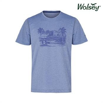 [울시골프] 남성 라운드 반팔 티셔츠 W72MTR95RBL