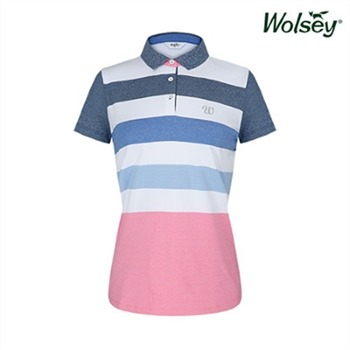 [울시골프] 여성 컬러블록 반팔 티셔츠 W82LTJ620NV