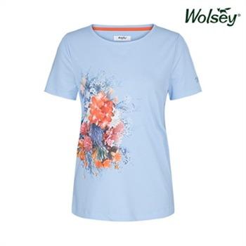 [울시골프] 여성 플라워 반팔 티셔츠 W82LTR910BL