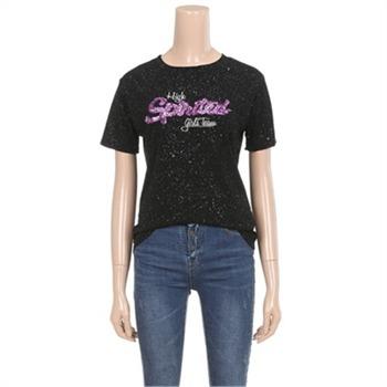 [밸리걸] 스팽글 레터링 티셔츠 (776032)
