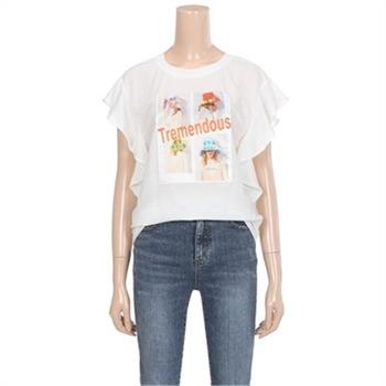 [밸리걸] 포토 프린팅 러플 티셔츠 (782781)