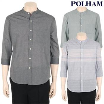 [폴햄] 남성 코튼 밴드카라 7부 셔츠(PHZ2WC1332)
