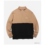 [커버낫] COLOR BLOCK HALF ZIP-UP BIEGE