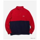 [커버낫] COLOR BLOCK HALF ZIP-UP RED