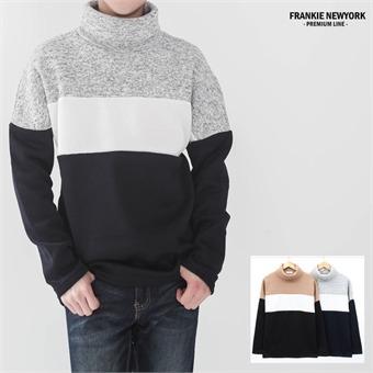 프랭키뉴욕 남자 목폴라 기모티셔츠 3단 배색 머플러st 니트 터틀넥_RT9FKN10