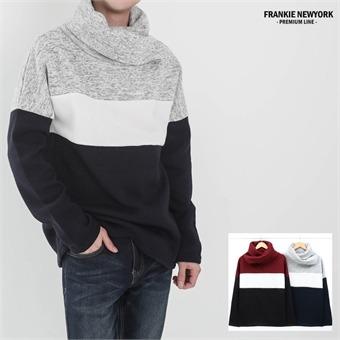 프랭키뉴욕 남자 터틀넥 기모 티셔츠 3단 배색 머플러st 니트 목폴라_RT9FKN09