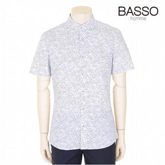 [바쏘옴므] 화이트 코튼혼방 패턴 캐주얼셔츠 (WSR2TT83A)