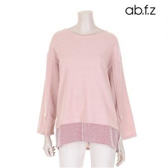 소매진주장식 밑단배색 티셔츠 (AFS1GK19A)