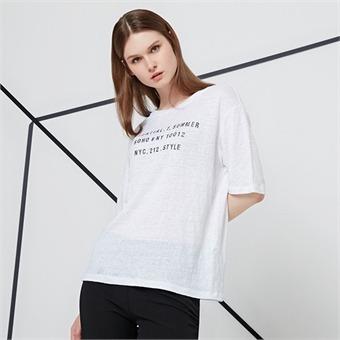 [리차드차이] Y 여성 린넨 프린트 티셔츠 EBTZ791C_WT