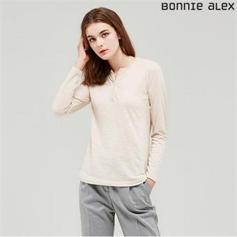 [보니알렉스] Y 여성 프렌치넥 티셔츠 ECTZ401C_BE