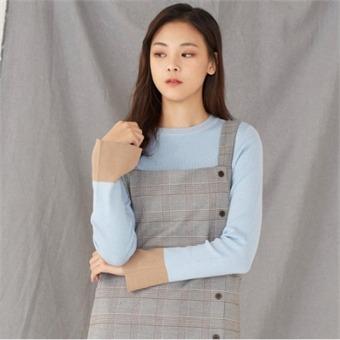 [로엠] WY 소매슬릿배색 슬림핏 스웨터 - RMKA74TR25_50