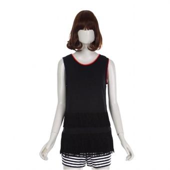 [BNX] Y 미니멀프린지 민소매 티셔츠 - BOBTS578F0_BK