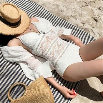 홀리 여성 레이스 망사 모노키니 수영복 (2color)[홀리우먼]