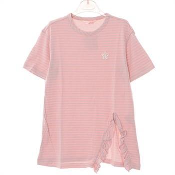 로엠걸즈 NC02 프릴 트임 반팔 롱 티셔츠 RGRA72304C