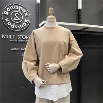 보니스팍스 NC02 배색 벌룬소매 티셔츠 X38TS570