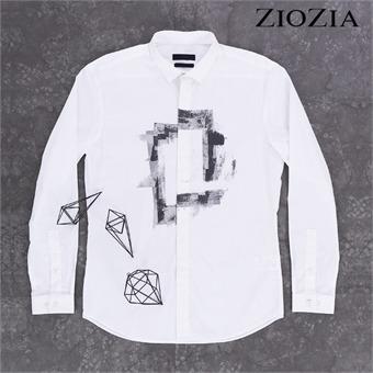 [지오지아] 그래피티 화이트 미니카라 셔츠 I (AAX3WC1105)_1st