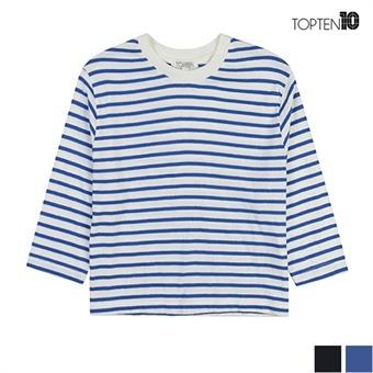 [탑텐] 스트라이프 라운드 크롭 티셔츠(MSU1TS2109)