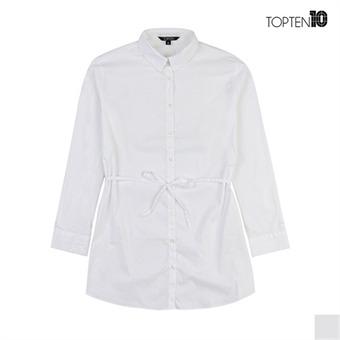 [탑텐] 허리끈 포인트 화이트 롱 셔츠(MSV3WC2005)