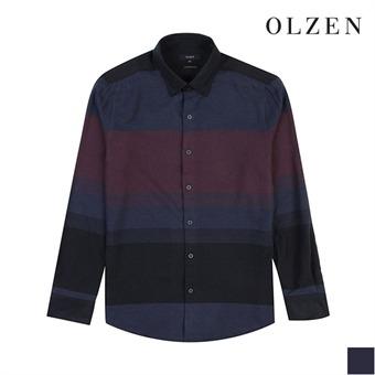 [올젠] 네이비 배색 스트라이프 셔츠(ZOX4WC1303)
