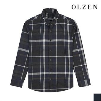 [올젠] 울 혼방 네이비 멀티 체크 셔츠(ZOX4WC1302)