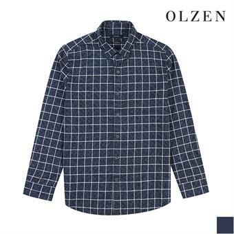 [올젠] 잔체크 패턴 베이직 카라 셔츠(ZOX4WC1101)