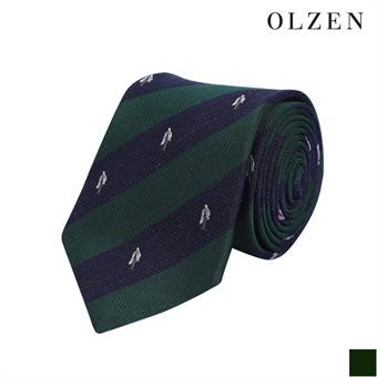 [올젠] 올리버 자수 그린 스트라이프 넥타이(ZAX5AT1305)