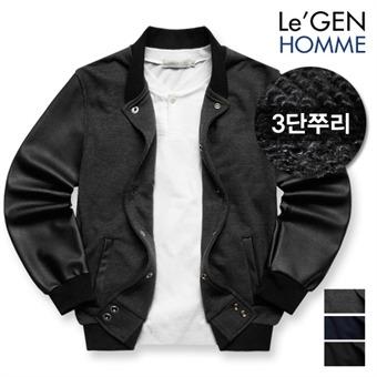 르젠 심플 톤다운 레더소매 3단쭈리 스타디움 자켓(LNJK465NS)