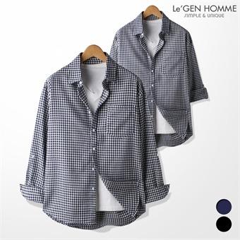 르젠 직조 깅엄체크 오버핏 롤업 셔츠(LNSH1023SB)