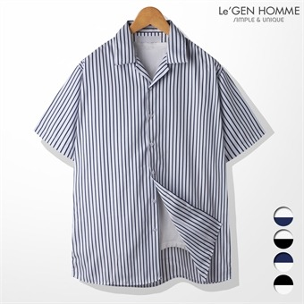 르젠 린넨 스트라이프 오버핏 반팔 셔츠(LNSH1443ME)