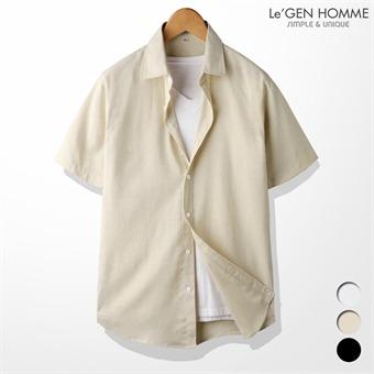 르젠 베이직 면마 슬림핏 반팔 셔츠(LNSH1524PE)